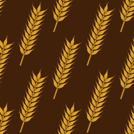 grain fields: Seamless pattern of ripe wheat ears with dry spikelets on brown background, for agriculture or bakery design
