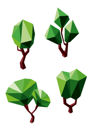 Geometric polygonal green trees icons  with lush crowns and branchy trunks, isolated on white background