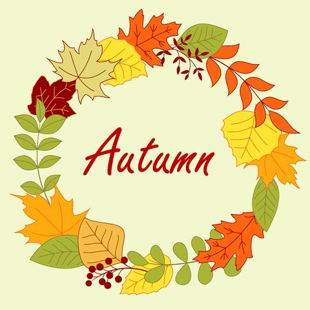 gree: Colorful autumnal leaves arranged in a round frame border with red, gree, yellow and orange and shrubs, decorated by berries