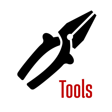Pliers tool black silhouette with insulation grips and wire cutter blades isolated on white background