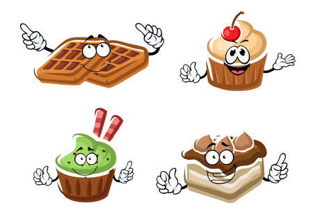 belgian waffle: Delicious cartoon cupcakes, chocolate cake and belgian sugar waffle characters with cream decorations, cherry, chocolate chips and waffle sticks. For pastry shop or dessert party design Illustration