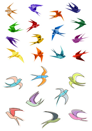 Colorful flying swallows birds in paper origami and outline sketch style isolated on white background for business logo or emblems design Ilustração