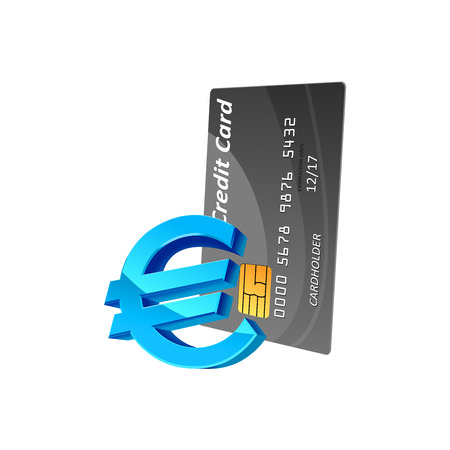 trade credit: Blue glossy euro currency sign and gray credit card isolated on white, for business or payment concept