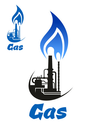 energy logo: Natural gas processing icon with  silhouette of industrial factory, flue gas stack chimney and flare stack with blue flame