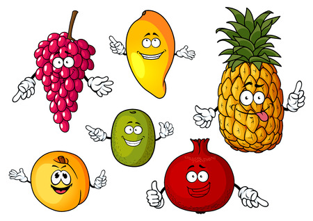 cartoon pineapple: Happy fresh pineapple, mango, grape, kiwi, peach and pomegranate fruits cartoon characters isolated on white background
