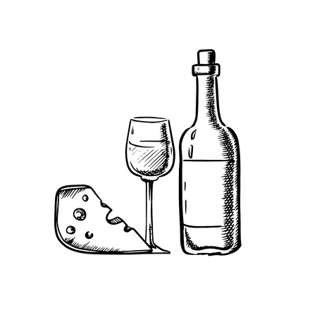 appetizers: Bottle of wine with wineglass and slice of cheese in sketch style. For food and beverage design