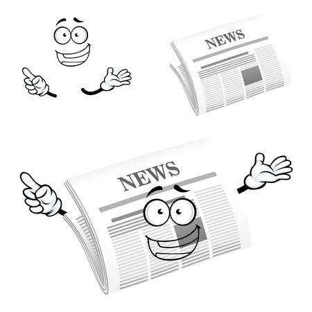 krant stripfiguur met header Nieuws op de voorpagina en blij gezicht, voor reclame of media design Stock Illustratie