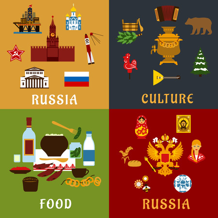 balalaika: Travel landmarks, history, culture and national food of Russia flat icons with flag, Kremlin, temple, oil platform, double head eagle, matryoshka, balalaika, samovar, sauna, vodka, caviar and bagels Illustration
