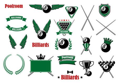 Biljart, pool en snooker game items met ballen, signalen, driehoek, tafel, trofeeën, schild kronen, vleugels, kroon, lint banners en headers Stock Illustratie