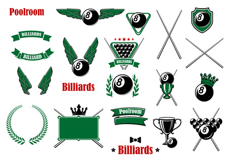 Billiards, pool and snooker game items with balls, cues, triangle, table, trophies, shield crowns, wings, wreath, ribbon banners and headers