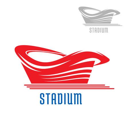 cancha de futbol: Deporte estadio juego o icono de la construcción de estadio contorno y subtítulo rojo, también la versión gris en la esquina. Para el diseño deportivo Vectores
