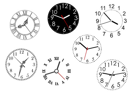 dials: Set of isolated clock dials icons for time concept design Illustration