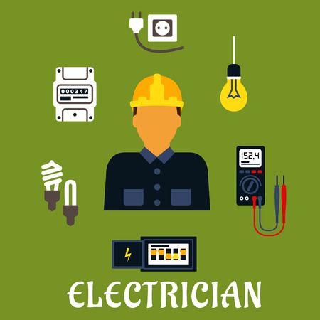 Electrician profession flat design with man in yellow hard helmet and coveralls encircled by energy saving and light bulbs, plug and socket, electricity meter, circuit breaker, multimeter
