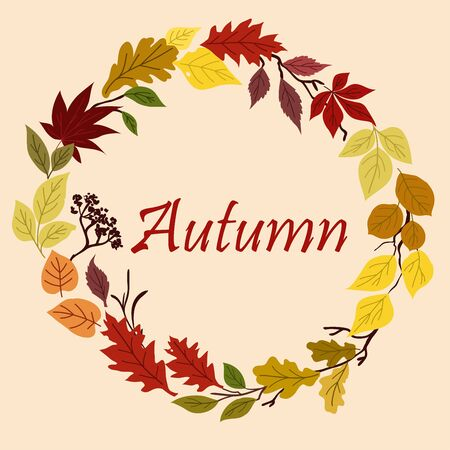 jaune rouge: Autumn leaves frame border with colorful wreath composed of green, red, yellow, brown and orange foliage