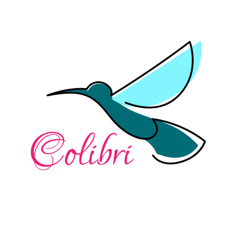 hovering: Blue tropical hummingbird hovering in the air abstract emblem for business, ecology or technology design Illustration