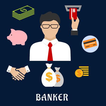 cash: Banquero profesi�n concepto de dise�o plano con el empresario en los vidrios y los iconos financieros, tales como bolsas de dinero, tarjetas de cr�dito, apret�n de manos, hucha, monedas y billetes de d�lar, cajero autom�tico con la mano