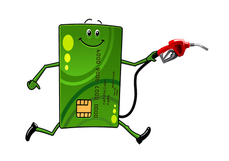 Green credit card character running with petrol or gasoline pump in hand Vectores
