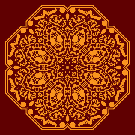 Orange floral pattern with circular ornament of abstract flowers, geometric elements, curved lines and curlicues on dark red background Illustration