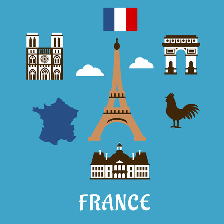 France travel symbols with Eiffel Tower surrounded by famous landmarks as Triumphal Arch, Notre Dame cathedral, national map, flag and gallic rooster on blue background with caption France Illustration