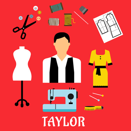 yellow dress: Tailor profession flat concept design with elegant man surrounded by sewing machine, mannequin, scissors, needle, threads , buttons, thimble, paper pattern, pins, measuring tape and yellow dress icons. Flat style