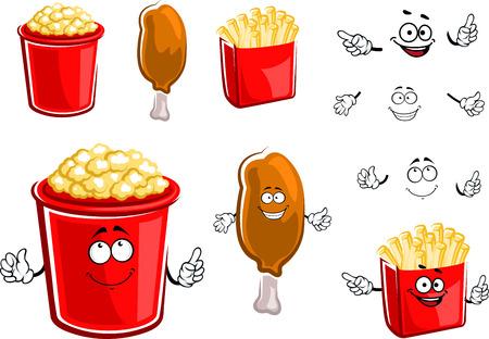 pollo caricatura: Personajes de dibujos animados caja de comida r�pida papas fritas, las piernas de pollo frito y palomitas de ma�z con alegres caras sonrientes, para el dise�o de comida para llevar