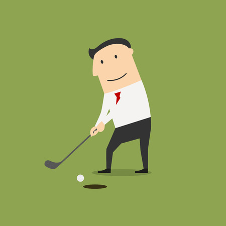 Successful businessman golfer putting ball into a hole on the gold field. Cartoon flat style