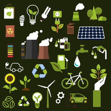 산업 공해, 교통의 평면 아이콘, 천연 자원, 녹색 에너지, 석유, 전구, 재생 가능한 자원 재활용과 환경 보호를 절약과 생태 기호