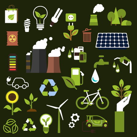 medio ambiente: Símbolos de la ecología con iconos planos de la contaminación industrial, el transporte, el ahorro de los recursos naturales, la energía verde y el aceite, las bombillas, los recursos renovables, el reciclaje y proteger el medio ambiente