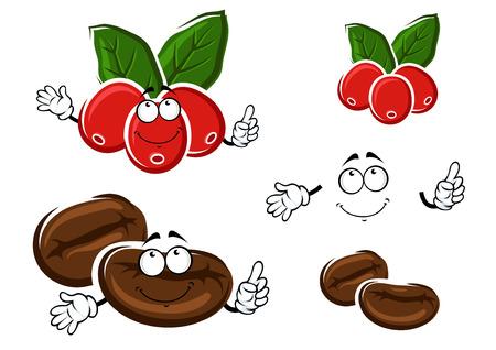 arbol de cafe: Personajes de dibujos animados de café con bayas maduras de café rojas, hojas verdes brillantes y granos de café marrones asados. Para la agricultura o la bebida de diseño Vectores
