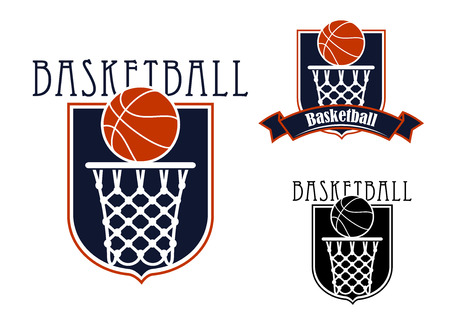 バスケット ボール チームのエンブレムやバッジのバスケット ボールと紋章の盾の形でバスケット ボール バックボードを持つ補完リボン