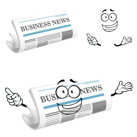 folded newspaper: Joyful folded newspaper cartoon character with title Business News on the cover page, for media or icon design