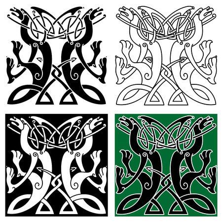 celtic: Tribal dragons ornament with intertwined wings and tails arranged in traditional celtic knot pattern