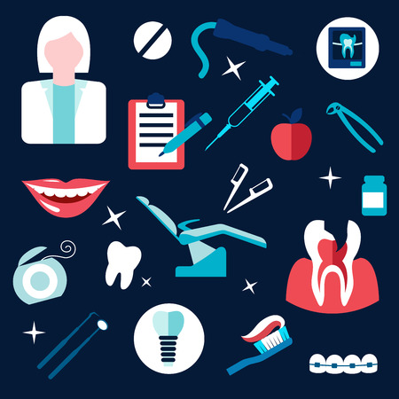 dental chair: Health and dentistry flat icons with dentist, dental instruments, broken tooth cross section and x-ray, syringe, chair, braces, floss, implant, medication, smile, toothbrush and clipboard