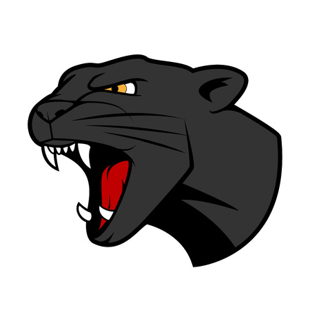 Aggressive puma or panther head with bared teeth in cartoon style, for tattoo or t-shirt print design