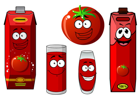 tomato juice: Cartoon fresh red tomato vegetable with colorful tomato juice cardboard containers and glasses with cheerful smiling faces, isolated on white background