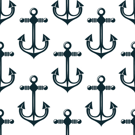 Old blue marine anchors seamless pattern with curved flukes on white background, for sailing or nautical themed design design