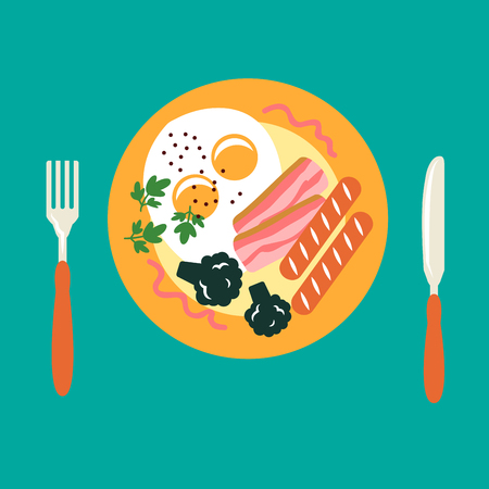 food plate: Fresh breakfast in flat style with fried eggs, pepper, broccoli and parsley, grilled sausages and bacon served on orange plate, with fork and knife. Traditional morning breakfast menu design