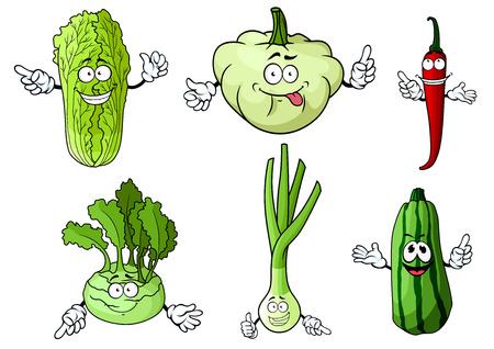 spicy mascot: Fresh cartoon green onion, chili pepper, chinese and kohlrabi cabbage, pattypan squash and zucchini vegetables  for organic or vegetarian food design