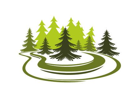 緑の芝生の草原と自然、景観設計のための白い背景で隔離の高いトウヒ森林の空き地