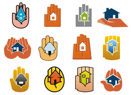 save as: Houses in hands abstract symbols with stylized colorful hands holding small houses, as a concept of security, protect or save for real estate design