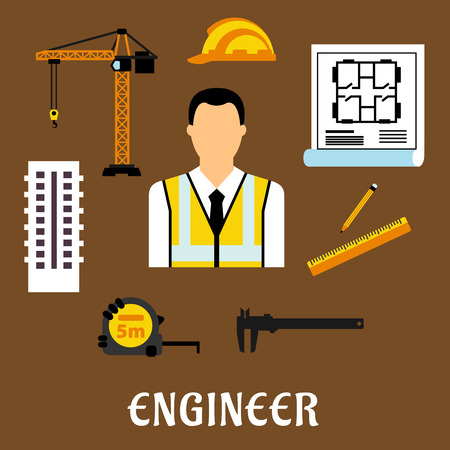 reflective: Engineer profession concept with man in reflective vest surrounded by yellow helmet, blueprint, tower crane, multi storey building, caliper, ruler, pencil and roulette icons. Flat style