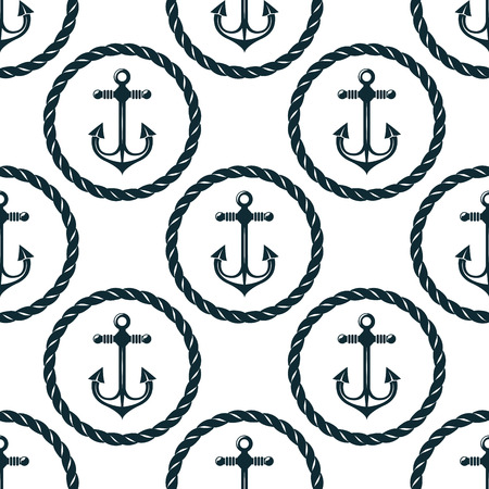 ancla: Modelo inconsútil náutico retro con anclajes en marcos cuerda circulares sobre fondo blanco, para el fondo marino o el diseño textil