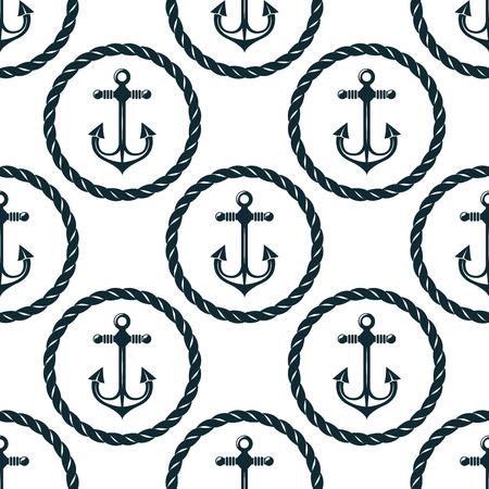 ancre marine: Retro seamless pattern nautique avec des ancres dans des cadres de corde circulaires sur fond blanc, pour le fond marin ou le design textile