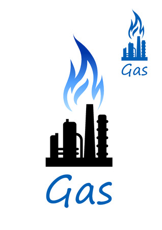 natural gas: Natural gas extraction or oil refinery factory black silhouette with chimney pipes, flare stack and blue flame above. Industrial icon