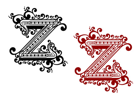uppercase: Decorative calligraphic uppercase letter Z adorned flourishes, swirls and curlicues in red and blackvariations for monogram or greeting card design