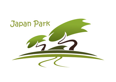 footpath: Bonsai garden abstract symbol with traditional oriental landscape, pine trees and footpath isolated on white background with caption Japan Park