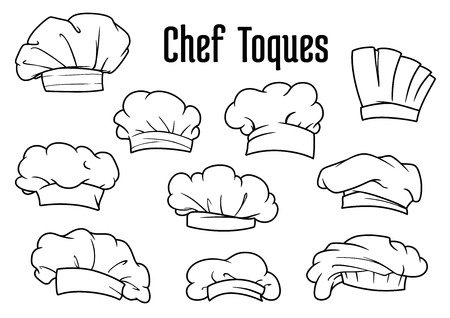 kitchener: Chef caps, hats and toques icons with various classic white textile uniform headwears