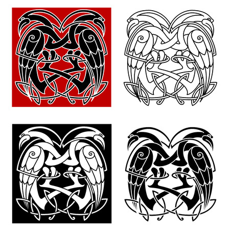celt: Celtic knot ornamental birds with intricate twisted necks decorated celt ethnic patterns for medieval embellishment or totem animal design Illustration