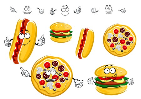 takeaway: Fast food cartoon characters pepperoni pizza, hot dog with ketchup and hamburger with vegetables for takeaway food design