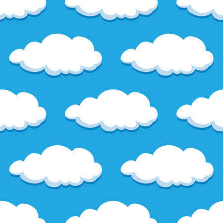 summer sky: Blue summer sky with white clouds seamless pattern, for wallpaper or background design Illustration